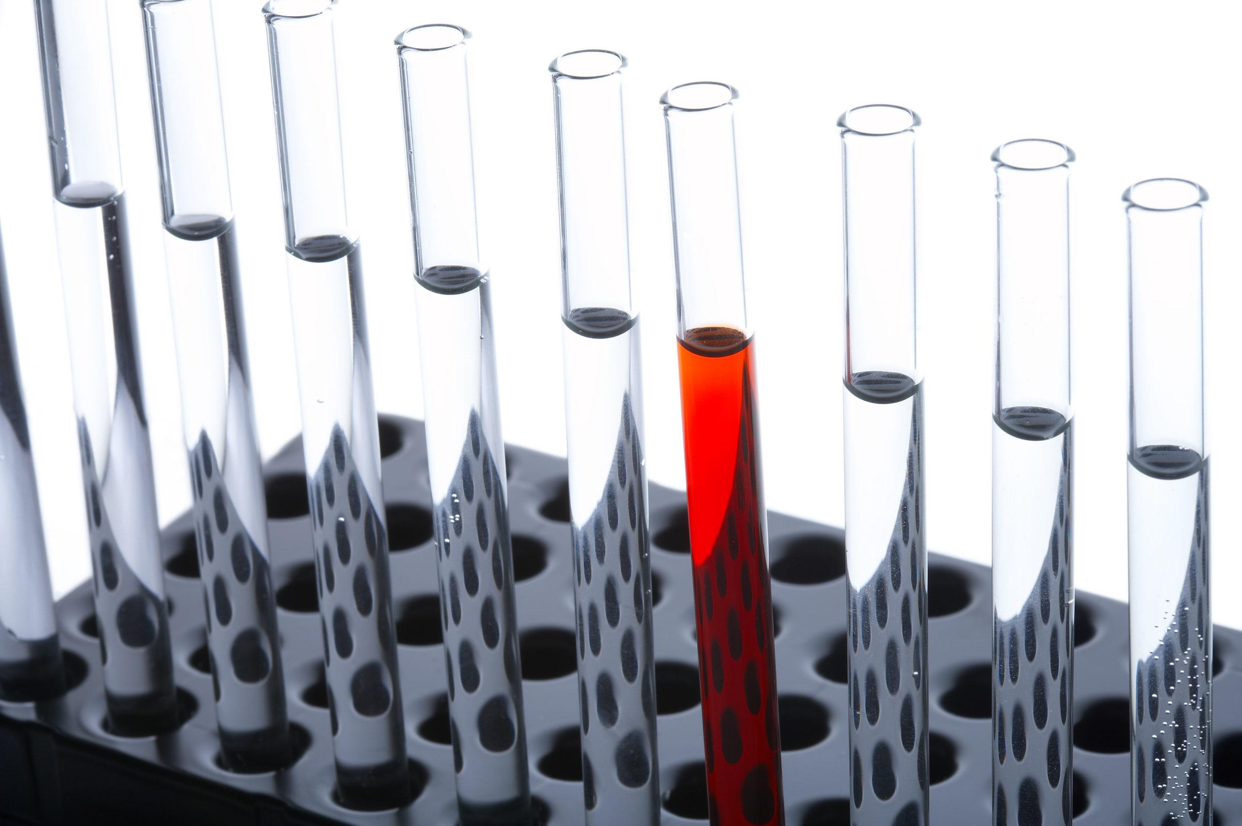 aufgereihte Reagenzgläser, die mit durchsichtiger Flüssigkeit gefüllt sind, mit Ausnahme von einem roten