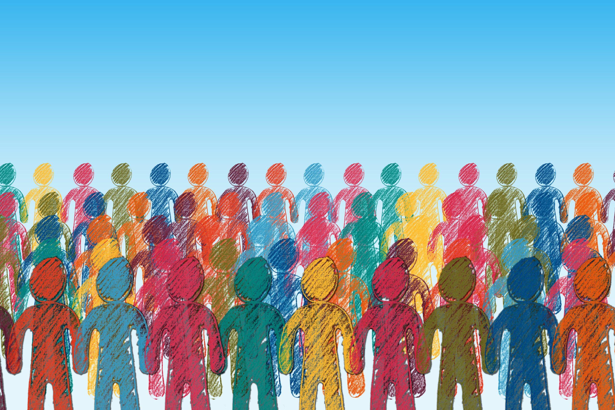 Ein Bild mit gezeichneten bunten Menschen