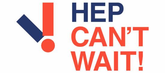 Logo des Welt-Hepatitis-Tages 2021: Hep can't wait! Hepatitis kann nicht warten!